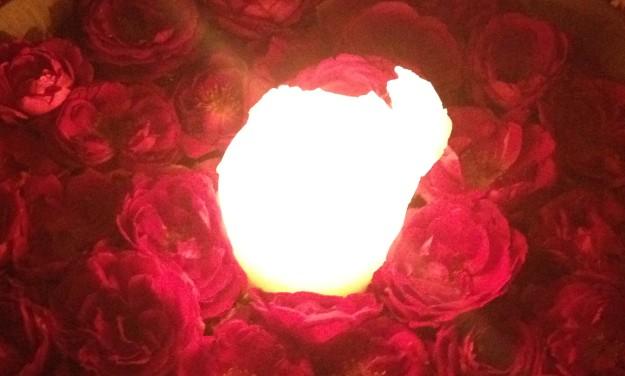 candle amongst roses